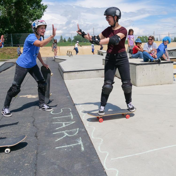 teaching how to skateboard