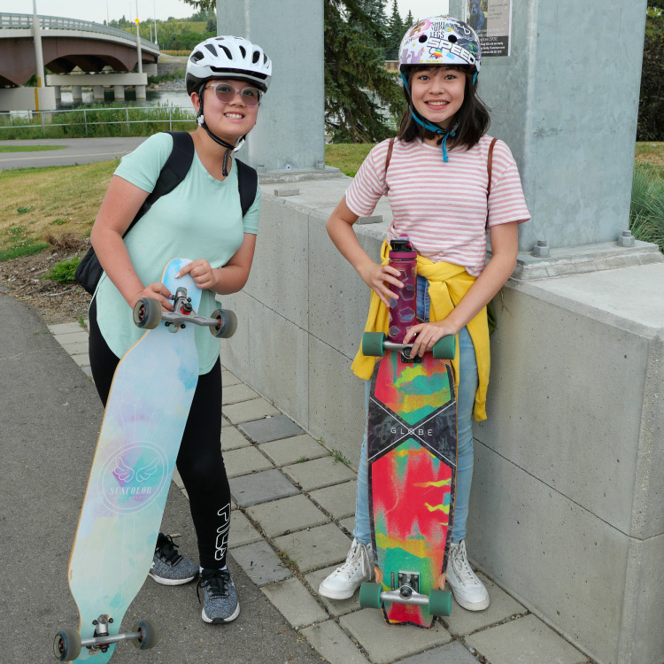 100 percent skateclub two girls with their skateboards